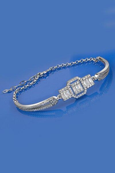 Else Silver Kadın Beyaz Özel Tasarım Baget Taşlı Kelepçe Modeli Gümüş Bileklik