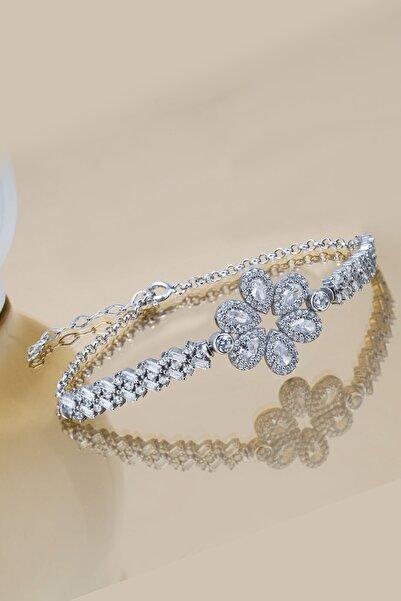Else Silver Kadın Beyaz Baget Taşlı Elmas Modeli Gümüş Bileklik