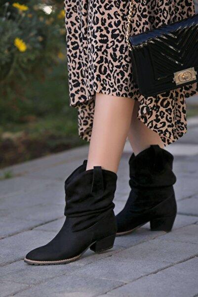 Gamze Shoes Kadın Siyah Süet Bot