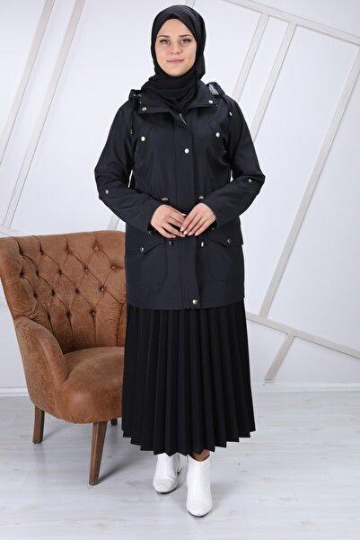 Pars Kadın Siyah Yan Cepli Trençkot Mdc1065