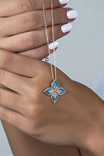 Else Silver Kadın Rose Mavi Mineli Umut Çiçeği 925 Ayar Gümüş Kolye