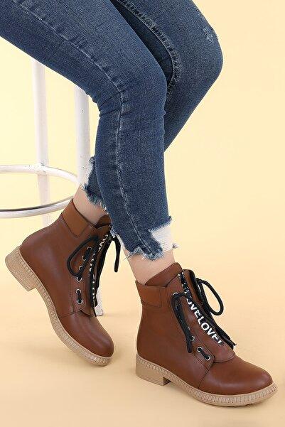 Ayakland Kadın Kahverengi Cilt Termo Taban Bot Ayakkabı N901-04