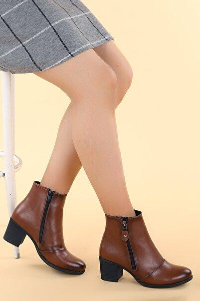 Ayakland Kadın Kahverengi Cilt 6 Cm Topuk Termo Bot Ayakkabı 8422-2110