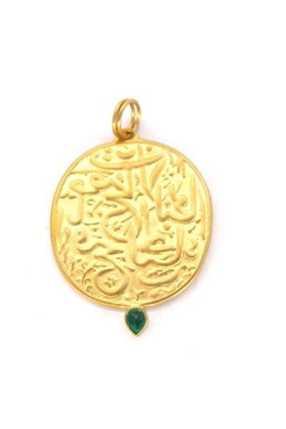 GOLDİST Zümrütlü Arapca Yazılı Kolye Ucu