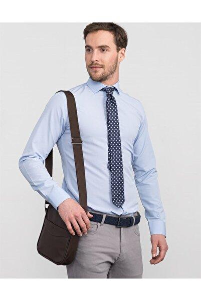 Tudors Erkek Açık MaviSlim FitDüz Gömlek