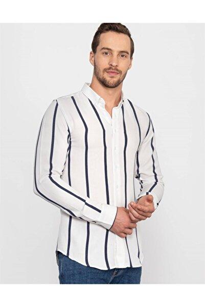 Tudors Erkek Beyaz Slim Fit Çizgili Kışlık Gömlek