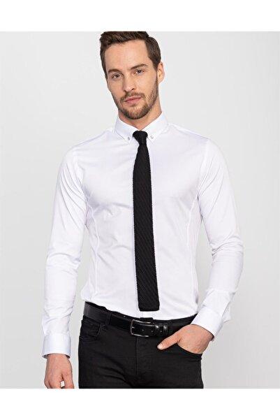 Tudors Erkek Beyaz Süper Slim Fit Likralı Gömlek