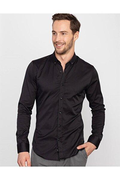 Tudors Erkek Siyah Süper Slim Fit Likralı Gömlek