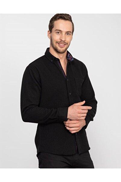 Tudors Erkek Siyah Klasik Fit Kışlık Gömlek