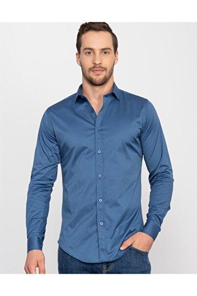 Tudors Erkek Mavi Slim Fit Likralı Düz Saten Gömlek