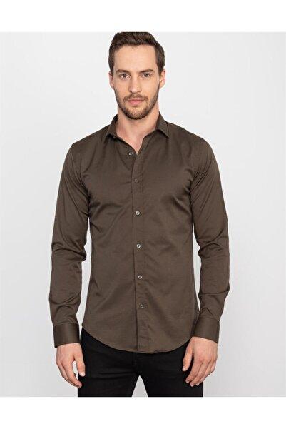 Tudors Erkek Kahverengi Slim Fit Likralı Düzsaten Gömlek