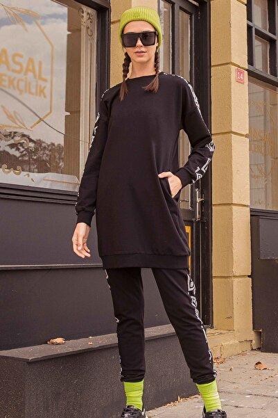 Tommy Life Kadın Cepli Kolları Desenli Siyah  Eşofman Takım