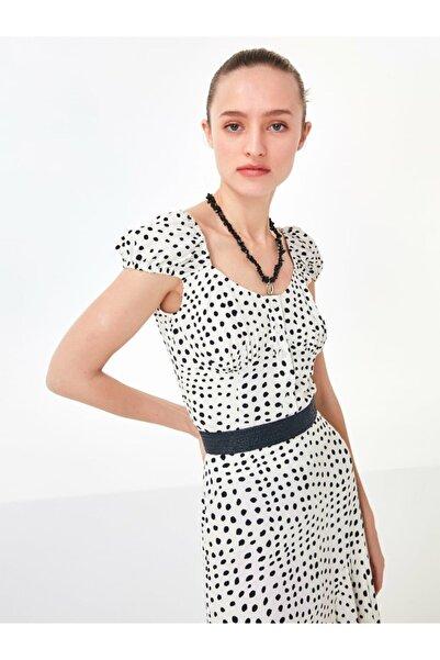 Twist Kadın Kırık Beyaz Puantiye Desen Bluz TS1200006202096
