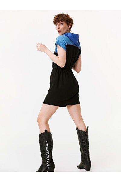 Twist Kadın Siyah Kapüşonlu Color Block Elbise TW6190002118001