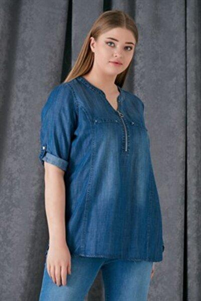 RMG Kadın Mavi Yaka Detaylı Büyük Beden Tensel Bluz