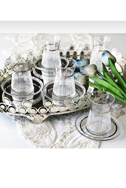 Paşabahçe Gümüş Detaylı Çay Seti 12 Parça Lazer Kesim