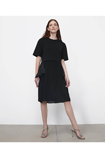 İpekyol Kadın Siyah Kumaş Mixli Sweat Elbise IS1200002242001