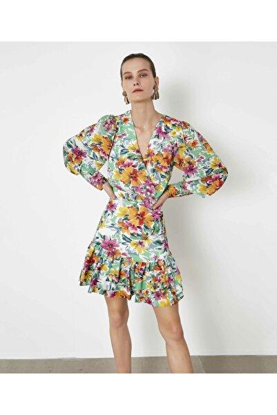 İpekyol Kadın Yeşil Nervür Şeritli Elbise IS1200002478070