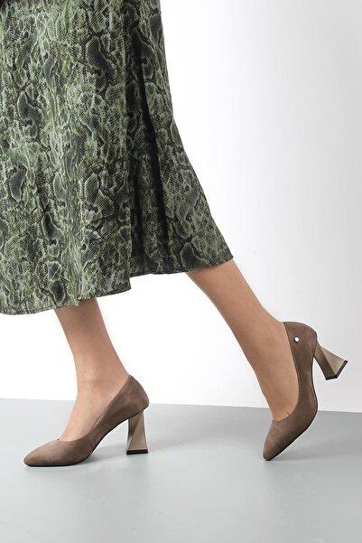 Gökhan Talay Kadın Vizon Süet  Topuklu Ayakkabı