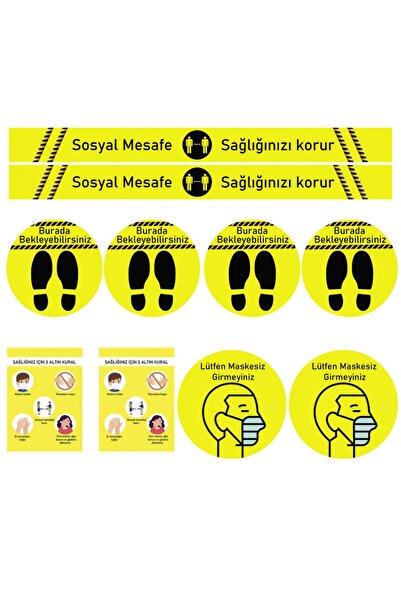 ELF Sosyal Mesafe Uyarı Sticker Seti 10 Parça Sarı