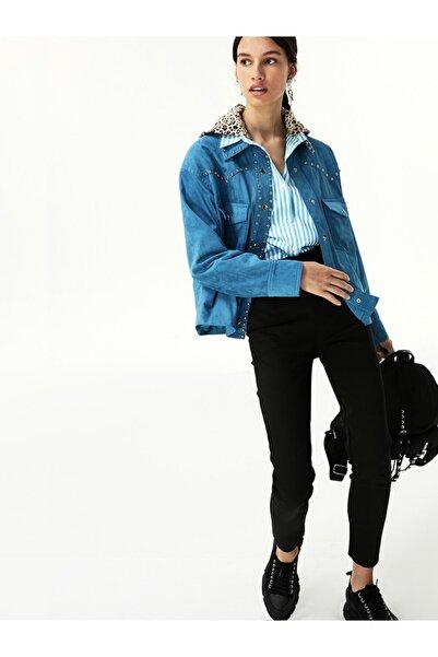 Twist Kadın Mavi Trok Şeritli Ceket