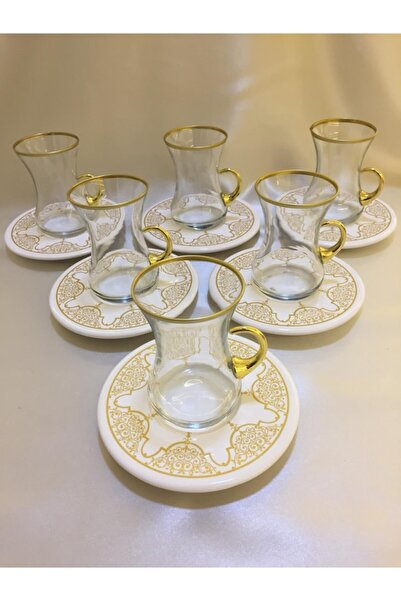 Paşabahçe Altın 12 Parça 6 Kişilik Incebelli Çay Seti