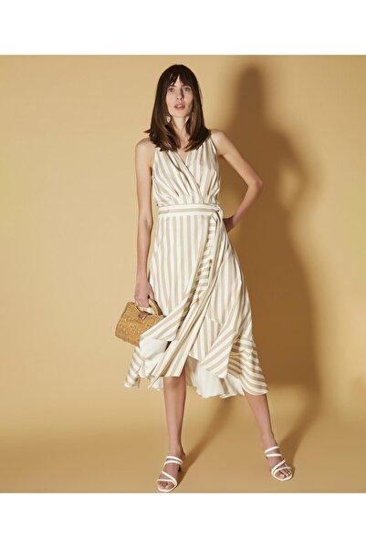 İpekyol Kadın Haki Anvelop Form Kuşaklı Elbise