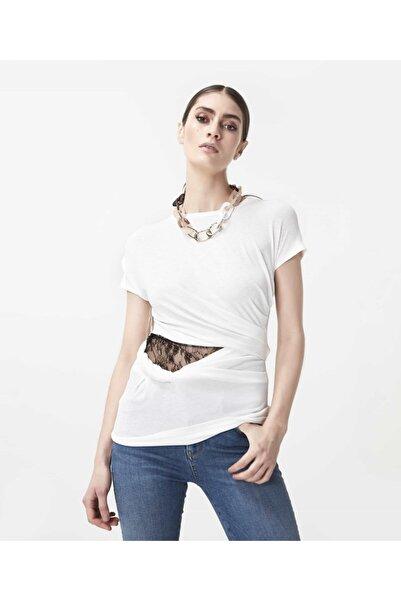 İpekyol Kadın Beyaz Bel Detaylı Tshirt