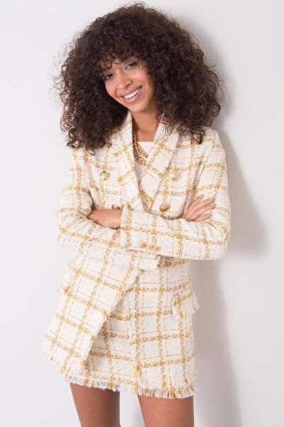 BSL Kadın Ekru Şal Yaka Detaylı Ceket