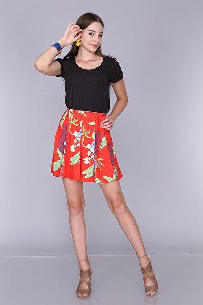 Cotton Mood Kadın Kırmızı Çiçekli Viskon Desenli Parçalı Lastikli Kısa Etek 92814022