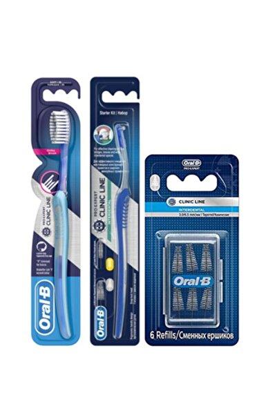 Oral-B Ortho Diş Fırçası + Arayüz Fırçası + Arayüz Fırçası Yedek 6'lı Eğimli
