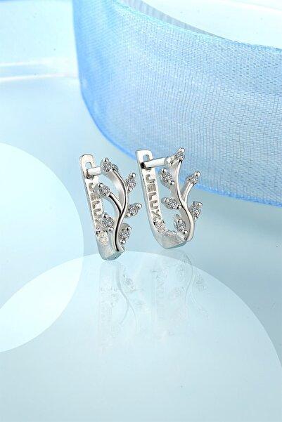 jelux silver Minimalist Zirkon Taşlı Gümüş Klipsli Küpe