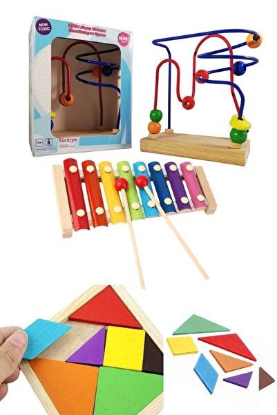 RoseRoi Ahşap 8'li Selefon Ksilofon+mini Helezon Koordinasyon Oyunu+tangram Set