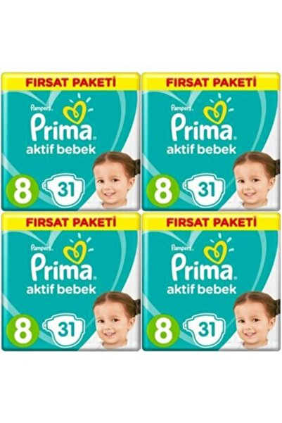 Prima Aktif Bebek 17+ Kg 8 Numara 31 X 4 = 124'lü Bebek Bezi Paketi