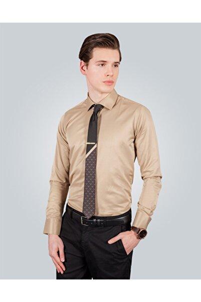 Tudors Erkek Kahverengi Slim Fit Gömlek