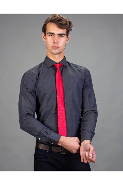 Tudors Erkek Gri Slim Fit Armürlü Gömlek