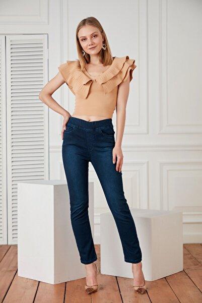 RMG Kadın  Lacivert Renk Beli Lastikli Pantolon