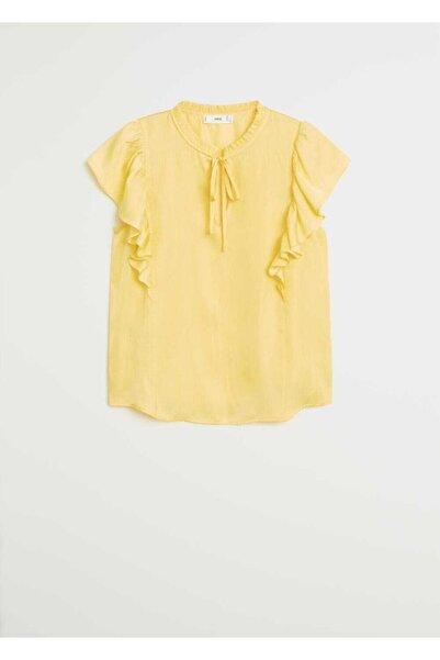 MANGO Woman Kadın Sarı Fırfırlı Bluz 67027695