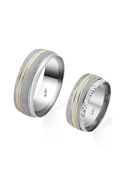 Gümüş Pazarım Altın Şeritli Çift Gümüş Alyans