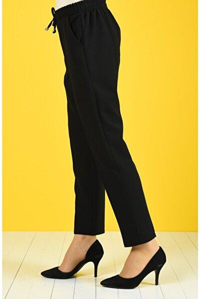 Moda Bu Kadın Siyah Bel Lastikli Pantolon