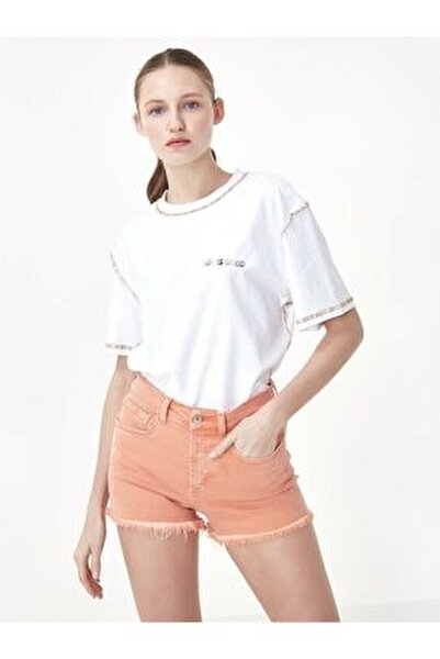 Kadın Beyaz Slogan Nakışlı Tshirt