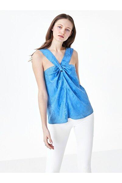 Twist Kadın Mavi Yaka Detaylı Bluz