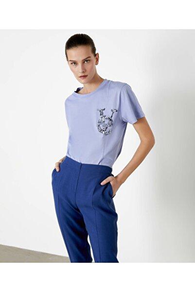 İpekyol Kadın Mor Payet Slogan İşli Tshirt IS1200070217016