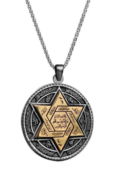 Anı Yüzük Erkek 925 Ayar Gümüş Kabartmalı Mührü Süleyman Kolye Ince Zincirli