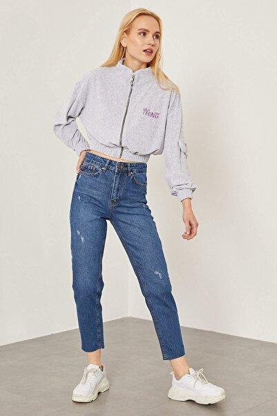 Arma Life Kadın Orta Mavi Lazerli Mom Pantolon