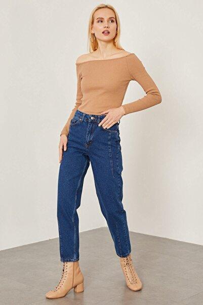 Arma Life Kadın Orta Mavi Pensli Mom Pantolon