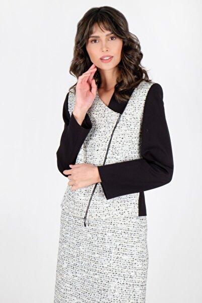 Spazio Kadın Ekru Carsyn Metal Fermuarlı Buklet Ceket