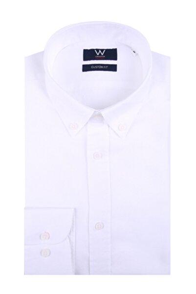 W Collection Erkek Beyaz Oxford Gömlek