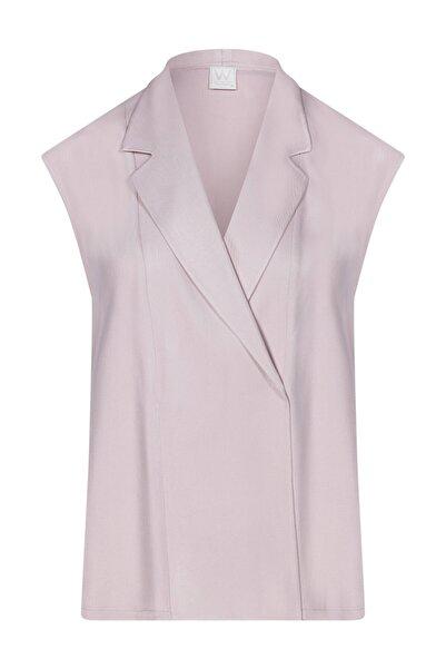W Collection Kadın Pudra Anvelop Kolsuz Bluz