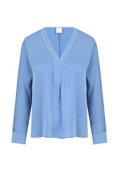 W Collection Kadın Mavi V Yaka Bluz